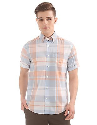Gant Selvedge Bleeding Madras Short Sleeve Loose Fit Button Down Shirt