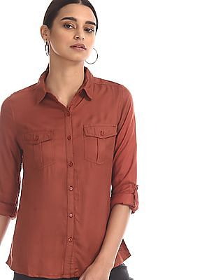 Flying Machine Women Red Barrel Cuff Solid Shirt