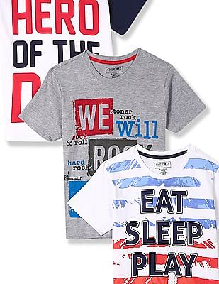 Cherokee Assorted Boys Crew Neck Printed T-Shirt - Pack Of 3