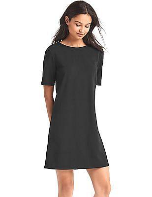 GAP Women Black Scoop Back Shift Dress