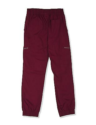 The Children's Place Boys Red  Solid Woven Joggers