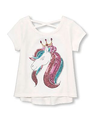 The Children's Place Toddler Girl Short Sleeves Cross-Back Embellished Graphic Top