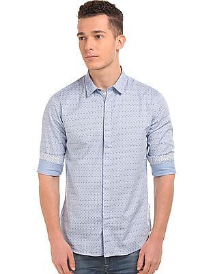 Flying Machine Concealed Placket Printed Shirt