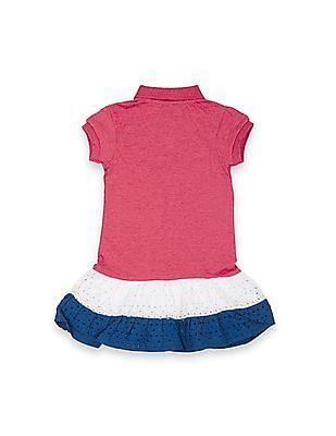 U.S. Polo Assn. Kids Girls Colour Block Hakoba Hem Polo Dress