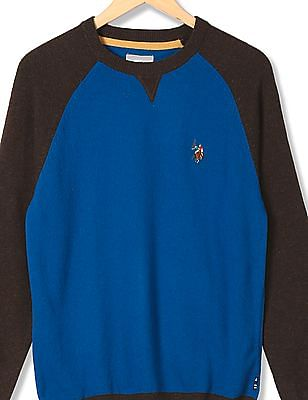 U.S. Polo Assn. Kids Boys Colourblocked Woollen Sweater