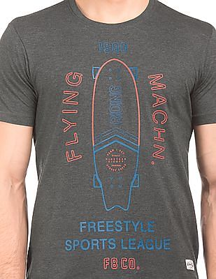 Flying Machine Rubber Print Crew Neck T-Shirt