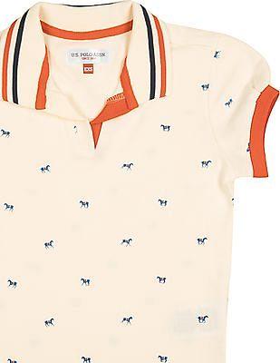 U.S. Polo Assn. Kids Girls Pony Print Pique Polo Shirt