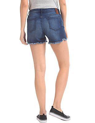 EdHardy Women Standard Fit Stone Wash Shorts