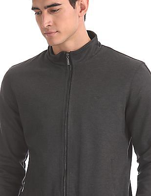Arrow Sports Grey Stand Collar Patterned Jacket