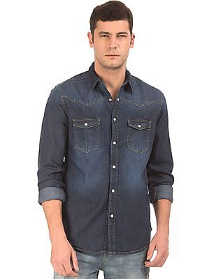 Aeropostale Western Yoke Denim Shirt