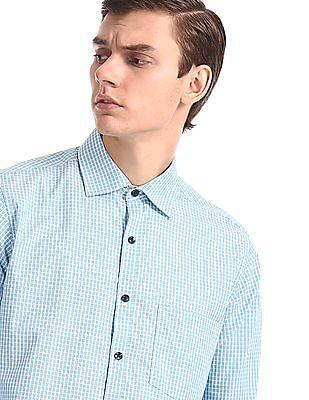 Excalibur Blue Mitered Cuff Check Shirt