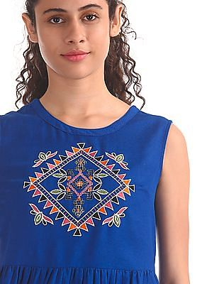 Bronz Embroidered Fit And Flare Dress