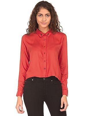 SUGR Embroidered Collar Boxy Top
