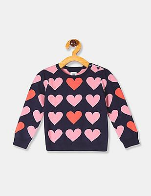 GAP Blue Baby Girl Allover Heart Graphic Crew Neck Sweater