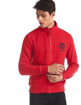 U.S. Polo Assn. Red High Neck Zip Up Sweatshirt