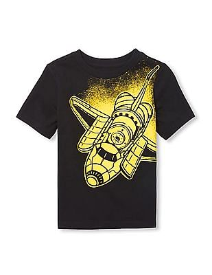The Children's Place Baby And Toddler Boy Black Spaceship Graphic Tee