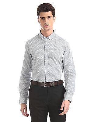 Arrow Newyork White Button Down Collar Printed Shirt