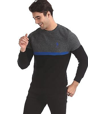 U.S. Polo Assn. Grey Crew Neck Colour Block Sweater