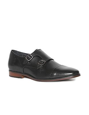 U.S. Polo Assn. Black Cap Toe Monk Strap Shoes