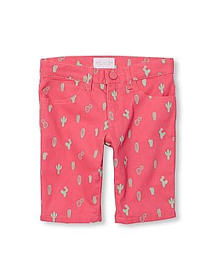 The Children's Place Girls Cactus Print Woven Skimmer Shorts