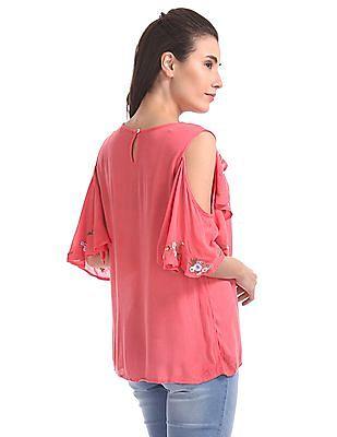 SUGR Embroidered Cold Shoulder Sleeve Top