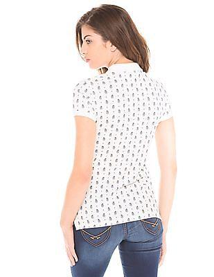 U.S. Polo Assn. Women White Regular-Fit Printed Polo Shirt
