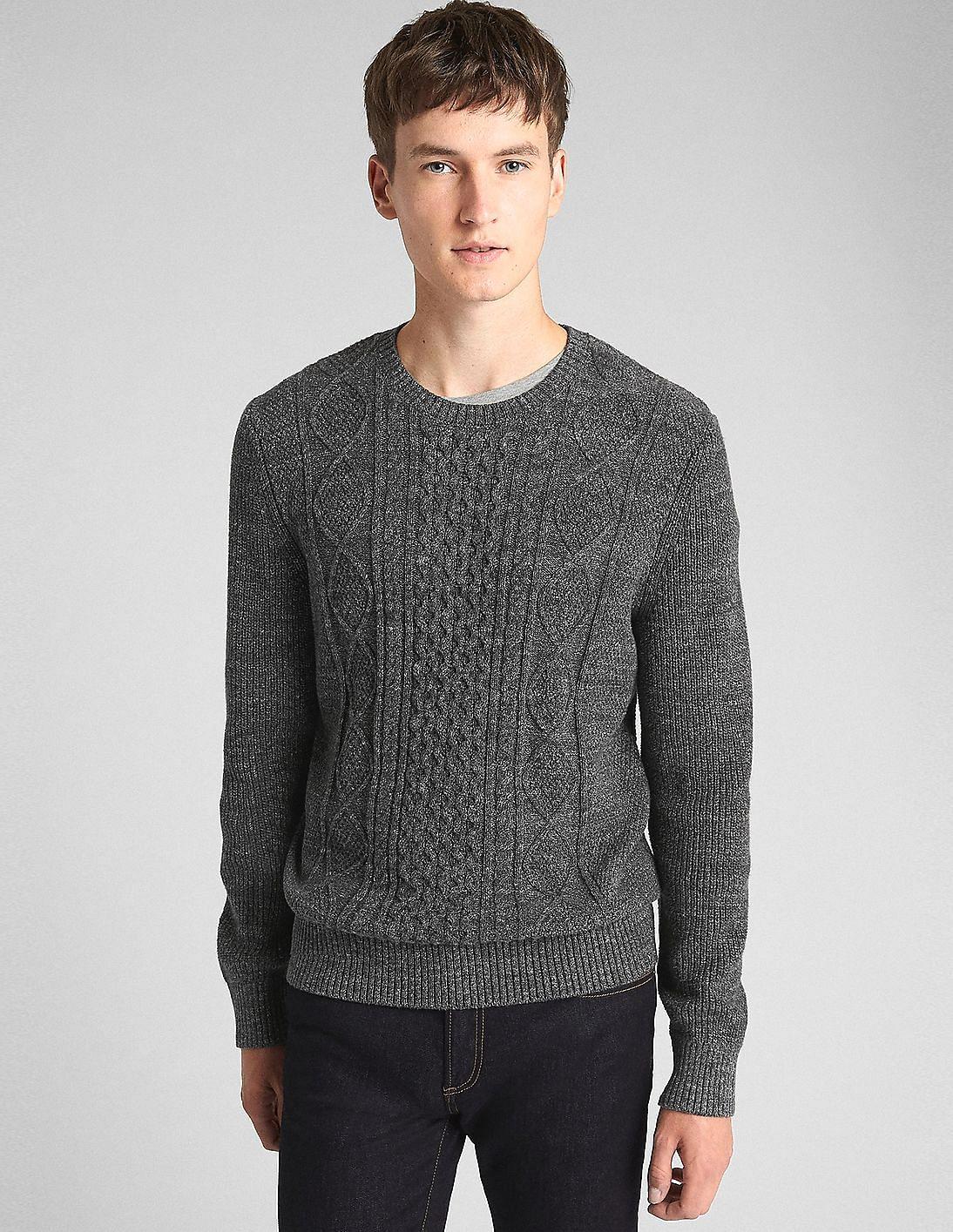 Buy Gap Men Men Grey Cable Knit Crewneck Pullover Sweater Nnnow Com