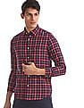 Arrow Sports Red And Navy Concealed Button Down Collar Check Shirt