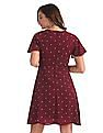 Elle Studio Red Polka Print Fit And Flare Dress