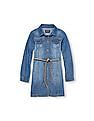 The Children's Place Girls Long Sleeve Belted Button-Down Denim Dress