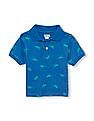 The Children's Place Toddler Boy Blue Short Sleeve Printed Knit Polo