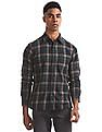 Arrow Sports Green Semi Cutaway Collar Check Shirt