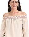 Bronz Smocked Off Shoulder Top