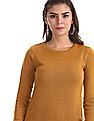 Cherokee Yellow Round Neck Solid Sweater