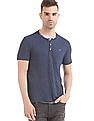 Flying Machine Melange Regular Fit Henley T-Shirt