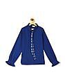 Cherokee Blue Girls Tie Up Spread Collar Solid Shirt