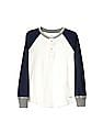 GAP Boys White Slub Raglan Henley