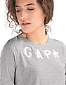 GAP Women Grey Metallic Stud Logo Long Sleeve Tee