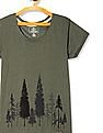 Cherokee Green Round Neck Printed T-Shirt
