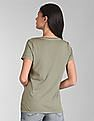 GAP Women Green Short Sleeve V-Neck T-Shirt In Vintage Wash