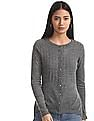 Cherokee Grey Buttoned Cable Knit Cardigan