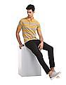 Ruggers Yellow And Grey Vented Hem Striped Polo Shirt
