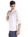 Arrow Sports White Button Down Collar Check Shirt