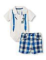The Children's Place Baby Boys Short Sleeve Bowtie And Suspender Polo Bodysuit And Plaid Woven Shorts Set