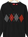 Izod Patterned Chest Long Sleeve Sweater