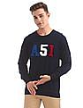 Arrow Sports Appliqued Crew Neck Sweater