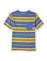 The Children's Place Boys Blue Short Sleeve Striped T-Shirt
