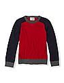 The Children's Place Boys Red Colourblocked Raglan Sleeve Sweater
