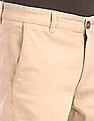 Ruggers Beige Solid Cotton Stretch Trousers
